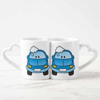 Blue car with bubbles coffee mug set