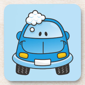 Blue car with bubbles coaster