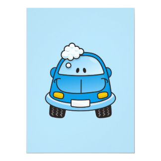 Blue car with bubbles 6.5x8.75 paper invitation card