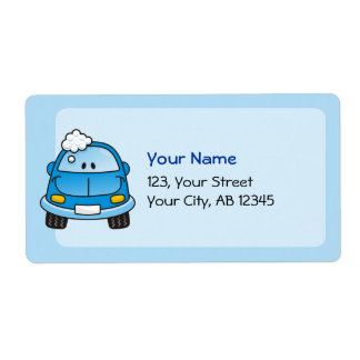 Blue car with bubbles custom shipping labels