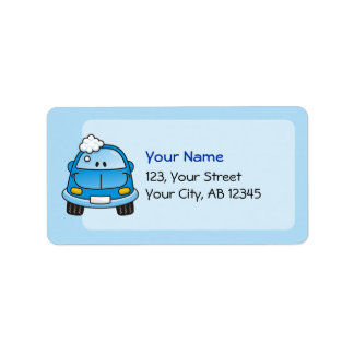 Blue car with bubbles personalized address labels