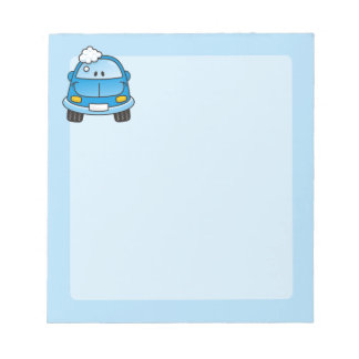 Blue car with bubbles notepad