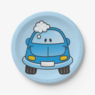 Blue car with bubbles paper plate