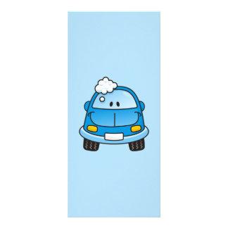 Blue car with bubbles rack card