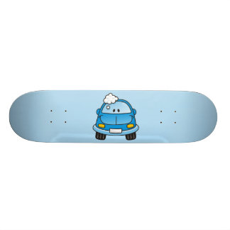Blue car with bubbles skateboard