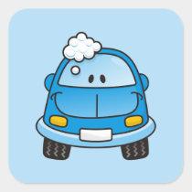 Blue car with bubbles square sticker