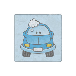 Blue car with bubbles stone magnet