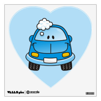 Blue car with bubbles wall sticker
