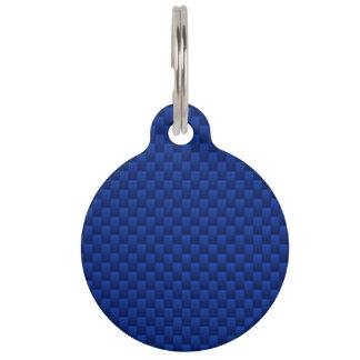 Blue Carbon Fiber Like Print Decor Pet Tag