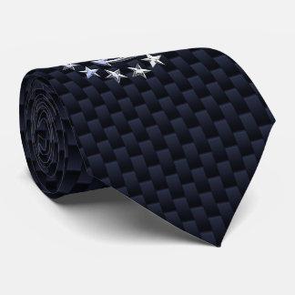 Blue Carbon Fiber Nautical Chrome Yacht Flag Print Neck Tie