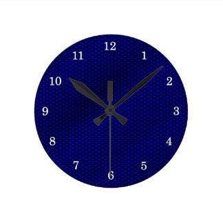 Blue Carbon Fiber Round Clock