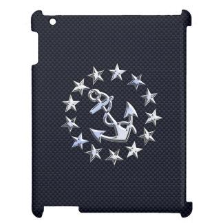 Blue Carbon Nautical Silver Yacht Flag Print iPad Cases