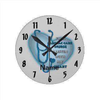 Blue Cardiac Care Nurse Round Clock