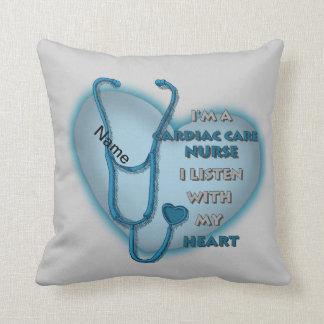Blue Cardiac Care Nurse Throw Pillow