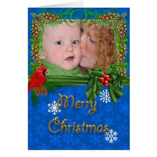 Blue Cardinal Family Portrait Christmas Card