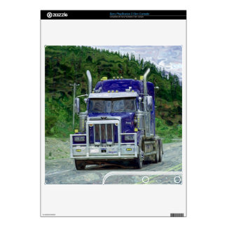 Blue Cargo Truck 2 Playstation 3 Skin Decals For PS3 Slim