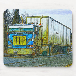Blue Cargo Truck - Lorry and Highway Art Mouse Pad