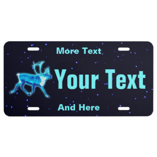 Blue Caribou License Plate