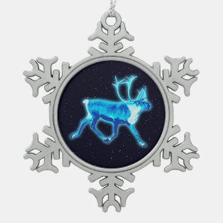 Blue Caribou (Reindeer) Snowflake Pewter Christmas Ornament