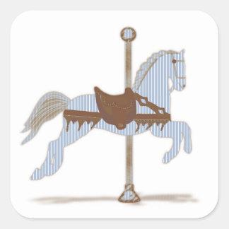 Blue Carousel Horse Sticker