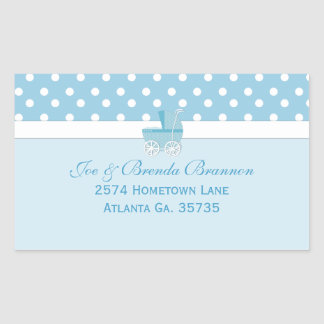 Blue Carriage and Polka Dots Address Labels Rectangular Sticker