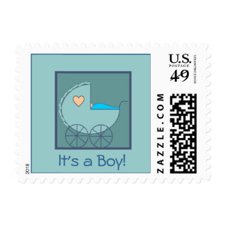 Blue Carriage Baby Announcement Stamp