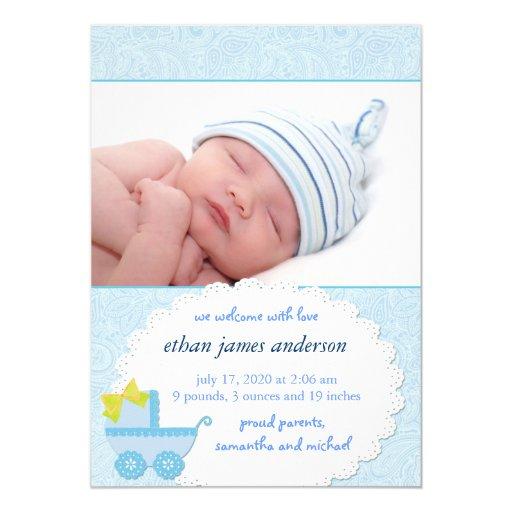 Blue Carriage Baby Boy Photo Birth Announcement