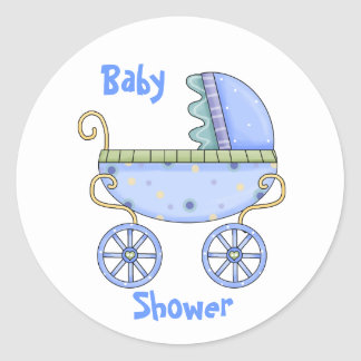 Blue Carriage Baby Boy Shower Envelope Seal