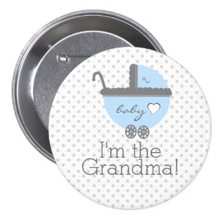 Blue Carriage Baby Shower Grandma Pinback Button