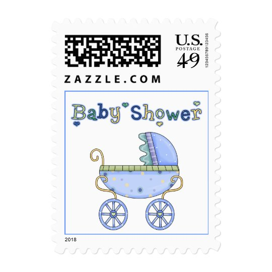 Blue Carriage Baby Shower Postage Stamp