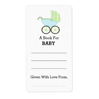Blue Carriage Boy Baby Shower Bookplate Label