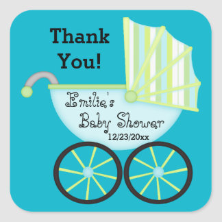 Blue Carriage Boy Baby Shower Thank You Stickers