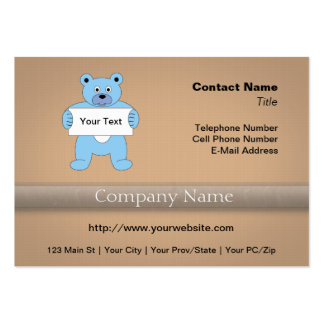 Blue Cartoon Bear with Sign (add your own text) Business Card Template