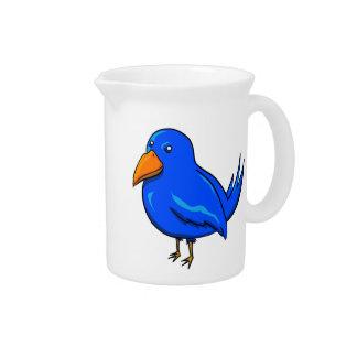 Blue Cartoon Bird Drink Pitcher