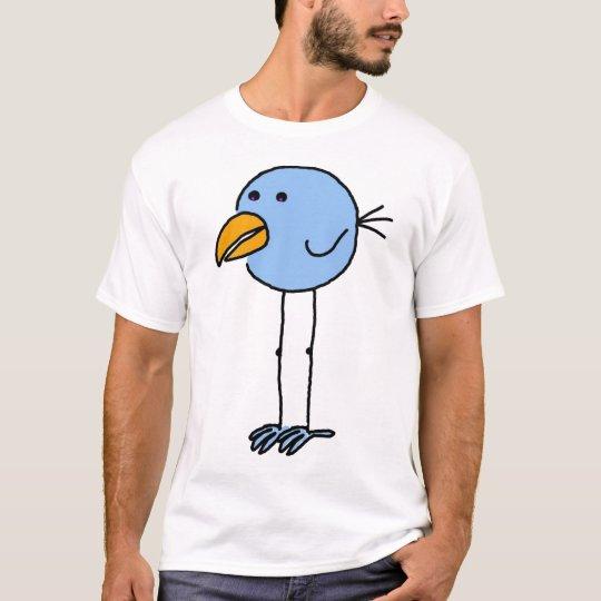Blue Cartoon Bird T-Shirt