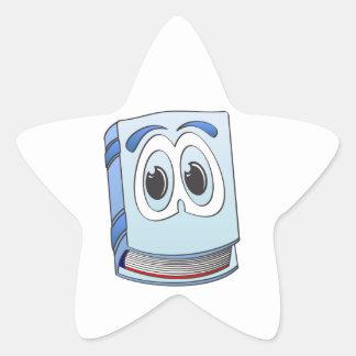 Blue Cartoon Book Star Sticker