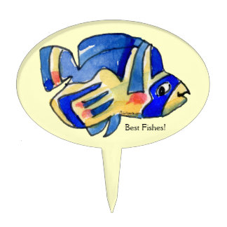 Blue Cartoon Butterfly Fish Cake Topper