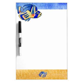 Blue Cartoon Butterfly Fish Dry-Erase Whiteboard
