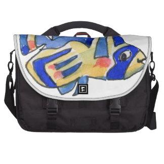 Blue Cartoon Butterfly Fish Laptop Bags