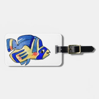 Blue Cartoon Butterfly Fish Luggage Tag