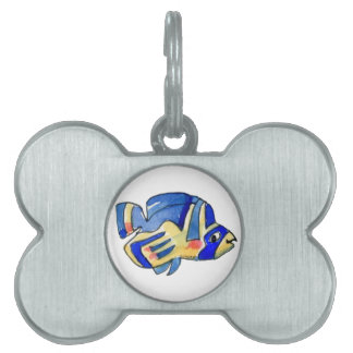 Blue Cartoon Butterfly Fish Pet Name Tags
