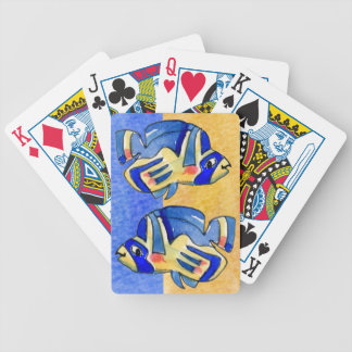 Blue Cartoon Butterfly Fish Bicycle Playing Cards