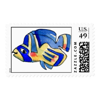 Blue Cartoon Butterfly Fish Postage Stamp