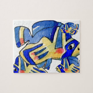 Blue Cartoon Butterfly Fish Puzzle