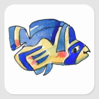 Blue Cartoon Butterfly Fish Square Sticker