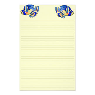 Blue Cartoon Butterfly Fish Stationery