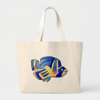 Blue Cartoon Butterfly Fish Tote Bags