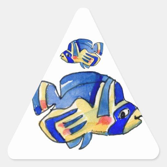Blue Cartoon Butterfly Fish Triangle Sticker