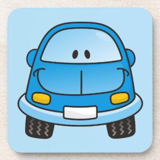 Blue cartoon car beverage coaster