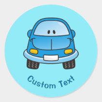Blue cartoon car classic round sticker